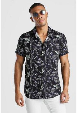 Black Short Sleeve Palm Print Shirt