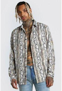 Taupe Long Sleeve Regular Collar Snake Print Shirt