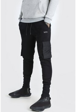 Black MAN Regular Fit Deep Cuff Nylon Pocket Jogger