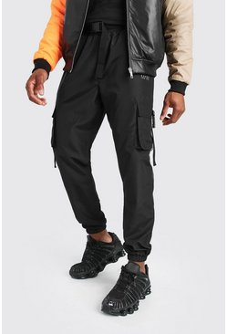 Black MAN Shell Cargo Jogger With Buckle Waistband