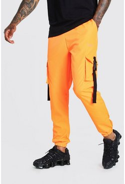 Orange MAN Shell Cargo Joggers With Buckle Waistband