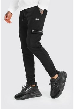 Black MAN Zip Detail Cargo Joggers With Adjustable Cuff