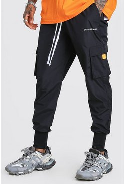 Black Official MAN Deep Cuff Shell Cargo Jogger