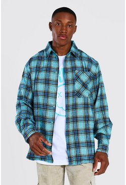 Teal Oversized Check Shirt