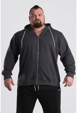 Charcoal MAN Dash Zip Hoodie With MAN BEAST Back Print