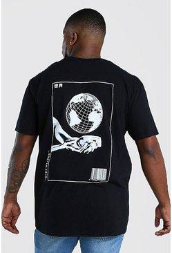 Black Big & Tall Globe Back Print T-Shirt