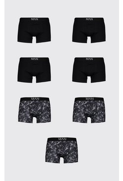 Black 7 Pack MAN Dash Marble Print Mid Length Trunk
