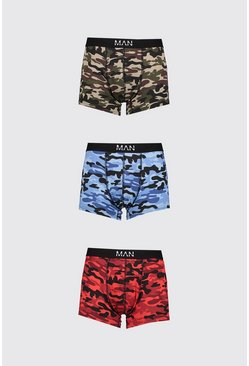 Lot de 3 boxers mi-longs camouflage mélangé MAN Dash, Multi