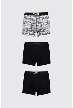 Grey 3 Pack MAN Dash Camo Print Mid Length Trunk