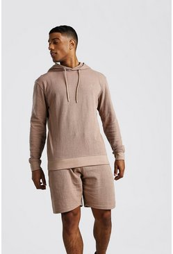 Taupe MAN Signature Pique Hooded Short Tracksuit
