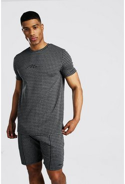 Dark grey MAN Signature Houndstooth T-Shirt & Short Set