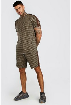 Brown Houndstooth Check T-Shirt & Short Set With Tape
