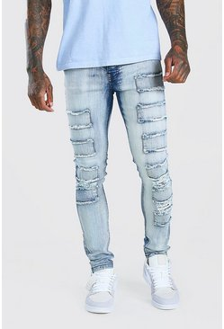 Super Skinny Jeans in Destroyed-Optik mit Patches, Eisblau