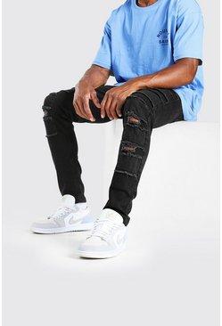 Black Super Skinny Distressed Patch Jean