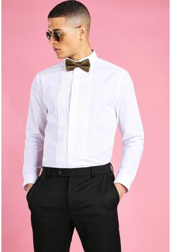 White Long Sleeve Pleat Front Prom Formal Shirt