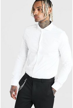 White Muscle Fit Long Sleeve Cutaway Collar Formal Shirt