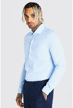 Blue Muscle Fit Long Sleeve Cutaway Collar Formal Shirt