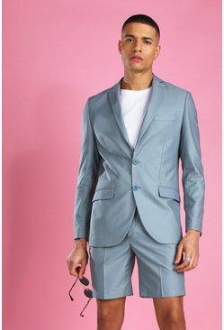 Blue Skinny Plain Suit Jacket
