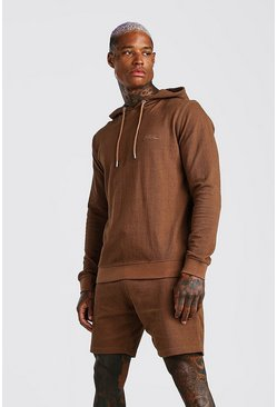 Tobacco MAN Signature Pique Hooded Short Tracksuit