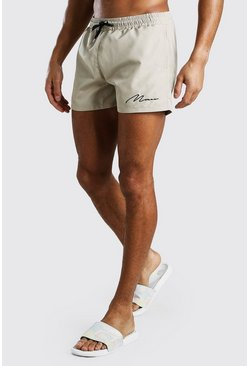 Grey MAN Signature Mid Length Swim Shorts