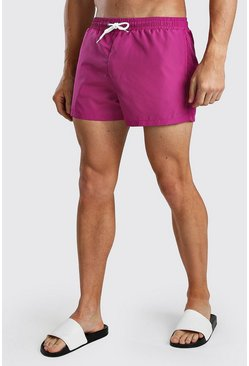 Short de bain mi-long uni, Fuchsia