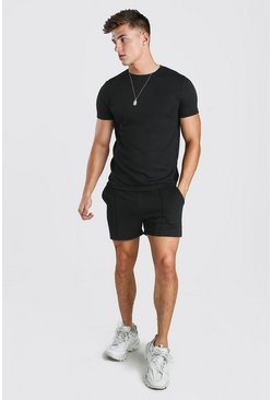 Black Smart T-Shirt & Pintuck Short Set