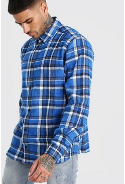 Blue Long Sleeve Oversized Bright Check Shirt