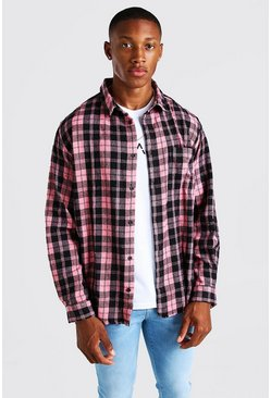 Coral Long Sleeve Laundered Oversized Check Shirt