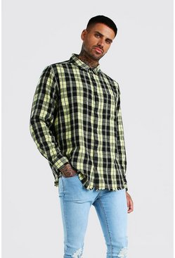 Yellow Long Sleeve Laundered Oversized Check Shirt