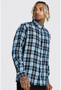 Blue Long Sleeve Laundered Oversized Check Shirt