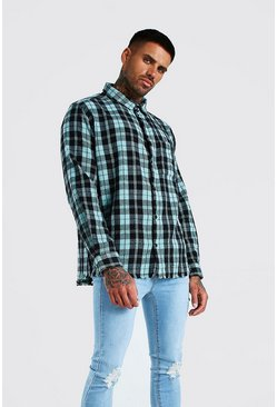 Aqua Long Sleeve Laundered Oversized Check Shirt
