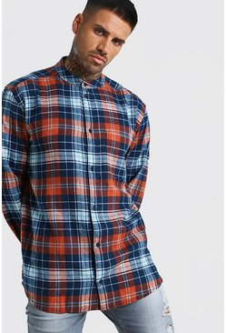 Rust Long Sleeve Flannel Check Shirt