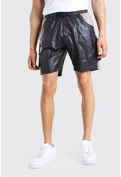 Black MAN Dash Utility Buckle Shell Shorts