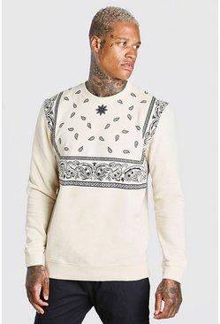Taupe Bandana Print Sweatshirt