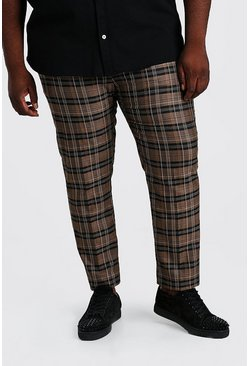 Brown Plus Size Tartan Check Slim Cropped Trouser