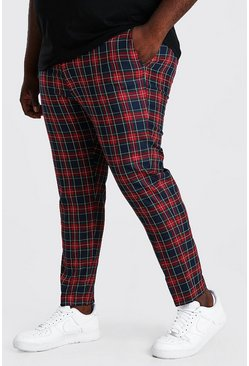 Red Plus Size Skinny Cropped Chain Plaid Pants
