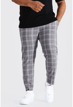 Grey Plus Size Pastel Check Skinny Cropped Trouser