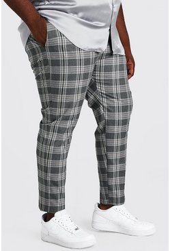 Grey Plus Size Skinny Cropped Check Trouser