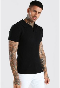 Black Short Sleeve Muscle Fit Textured Notch Neck Polo