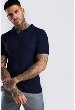 Navy Short Sleeve Muscle Fit Textured Notch Neck Polo