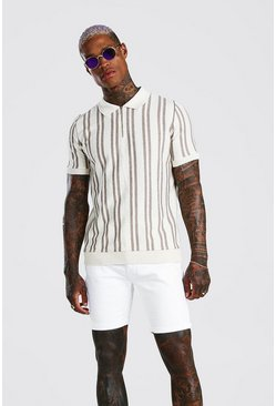 Cream Vertical Stripe Knitted Polo With Zip