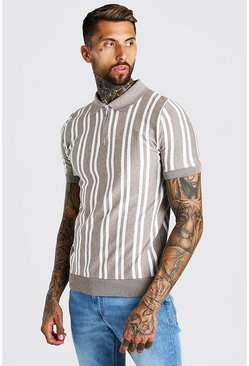 Taupe Vertical Stripe Knitted Polo With Zip
