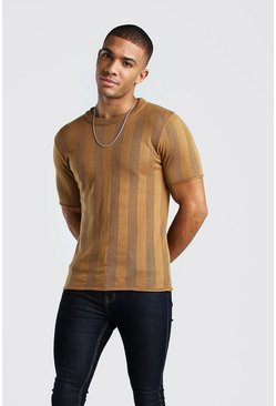 Camel Mesh Stripe Knitted T-Shirt
