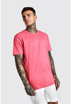 Coral Oversized MAN Signature Neck Print T-Shirt