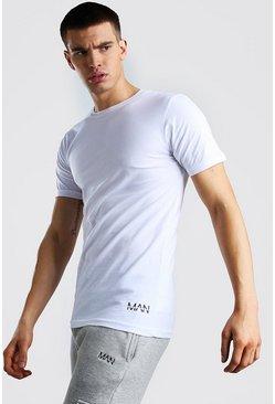 White Original MAN Hem Print T-Shirt