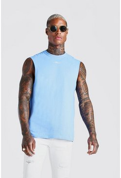 Blue MAN Signature Neck Print Drop Armhole Tank