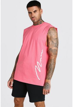 Coral Oversized MAN Signature Side Print Drop Armhole Tank
