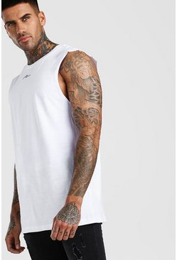 White Oversized MAN Signature Neck Print Tank