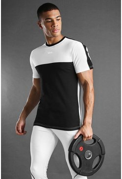 T-shirt colour block MAN Active, Blanc