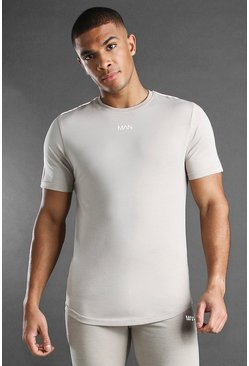 Stone MAN Active Curved Hem T-Shirt With Piping